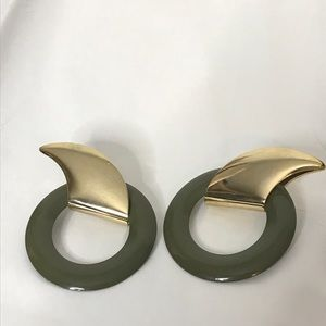 Jewelry - Vintage Metal Pierced Earrings Abstract Circles